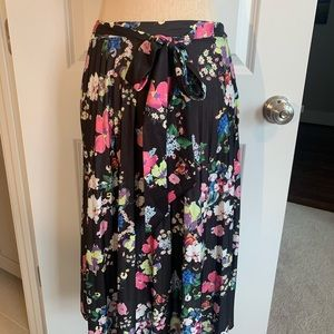 Black floral midi skirt with bow